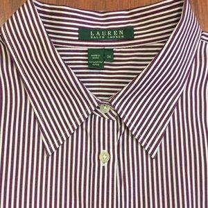 Ralph Lauren Burgundy Pin Striped Dress Shirt  3x